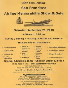 SFO Airline Memorabilia Show & Sale @ Best Western Grosvenor