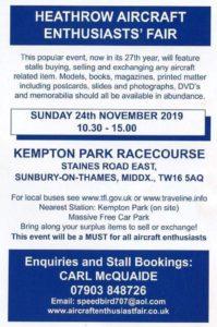 Heathrow Aircraft Enthusiasts' Fair @ Kempton Park Racecourse