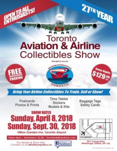 Toronto Aviation & Airline Collectibles Show @ Hilton garden Inn, Toronto Airport