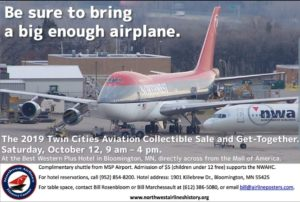 MINNEAPOLIS AIRLINE COLLECTIBLE SHOW & GET TOGETHER @ Best Western Hotel