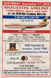 28th HOUSTON AIRLINE COLLECTIBLES SHOW & SALE @ 1940 Air Terminal Museum