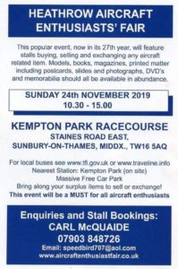 CANCELLED!! Heathrow Aircraft Enthusiasts' Fair @ Kempton Park Racecourse