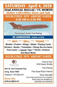 CANCELLED!!! 32nd DALLAS/FT.WORTH Airline Collectibles Show and Sale @ Double Tree DFW Airport North